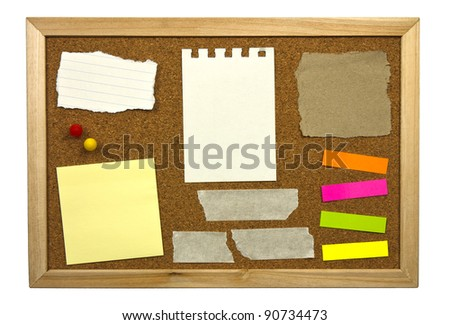 Blank memo notes on cork board - stock photo