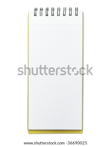 Blank memo pad with yellow cover, isolated on pure white