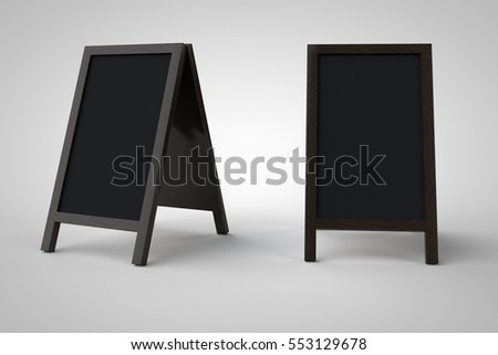 Blank menu blackboard outdoor display isolated with clipping path, 3d illustration