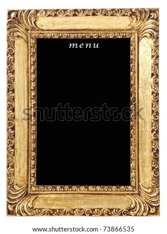 Blank Menu Board In Gilt Frame On White Background Stock ...