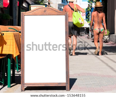 Blank Menu Board On The Street. Selective Focus On The ...