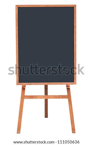 Blank menu chalkboard in wooden frame isolated on white background (Save Paths For design work)