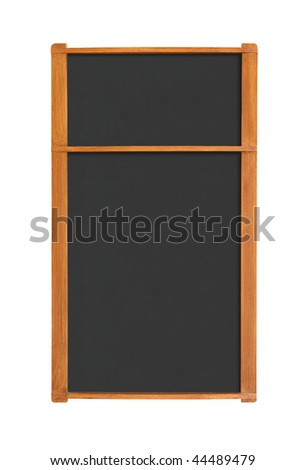 Blank menu chalkboard with two sections isolated on white background