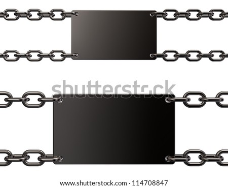 blank metal sign on chains - 3d illustration