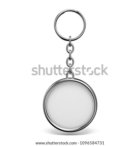 Blank metal trinket with a ring for a key circle shape 3D rendering illustration isolated on white background