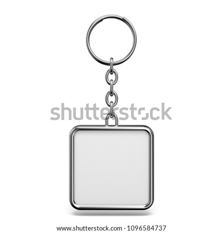 Blank metal trinket with a ring for a key square shape 3D  rendering illustration isolated on white background