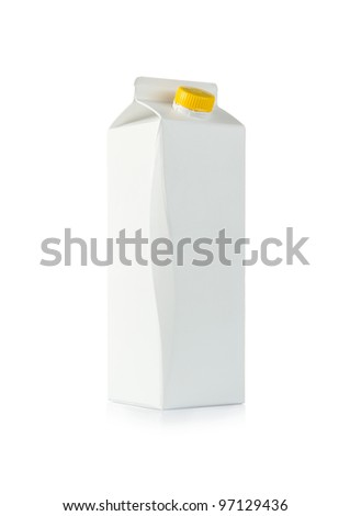 Blank milk box isolated on white background