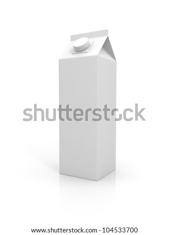 Blank milk package isolated on white background - stock photo