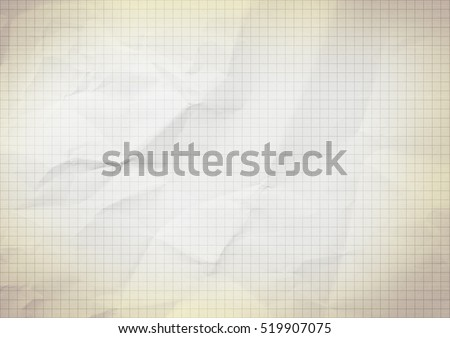 Blank millimeter old crumpled yellow gold paper grid sheet background or textured