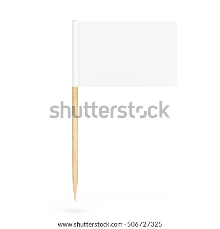 Blank Mini Paper Pointer Flag on a white background. 3d Rendering