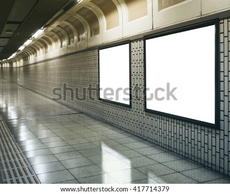 Blank Mock up Billboard Banners Media Light box in subway station perspective #417714379