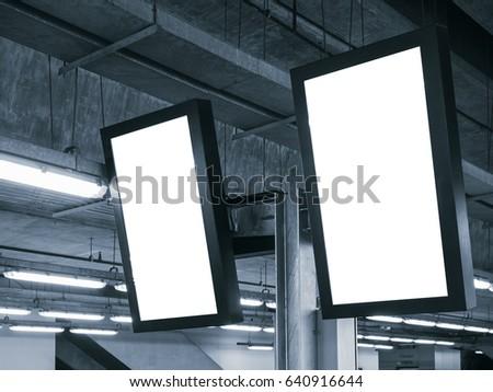Blank mock up Light Box Template Vertical sign Media Display indoor