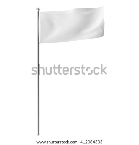 Blank, mock-up white flag isolayed on white background. 3D illustration #412084333