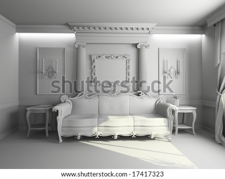 stock photo : blank modern classic interior design (pri