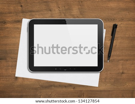Blank modern digital tablet with papers and pen on a wooden desk. Top view. High quality detailed graphic collage.