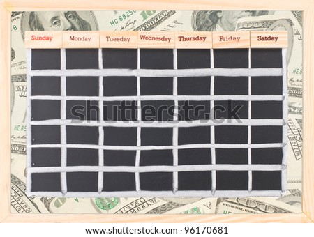 Blank money schedule, Monthly calendar with notes and week words print on wood