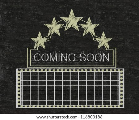 Blank movie banner theater or casino marquee with neon stars written on blackboard background collection set.