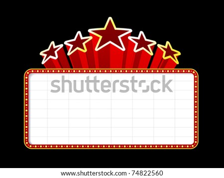 Movies Theater on Blank Movie Theater Or Casino Marquee With Stars ...