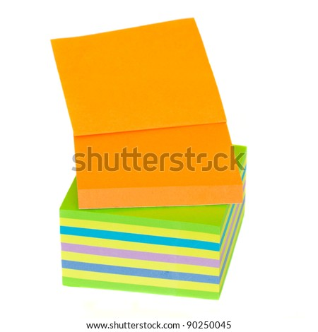 blank multicoloured post it memo pad isolated on white background