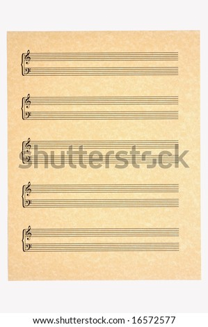 Blank Music Sheet with 5 staves of treble and bass clefs on parchment paper for your composing! Isolated.
