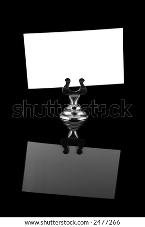 Blank name card in a silver card holder