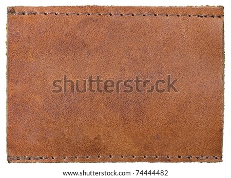 Blank Natural Leather Label Jeans Tag, Isolated Rustic Macro Background