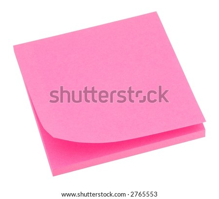 Blank neon pink memo pad isolated on white.