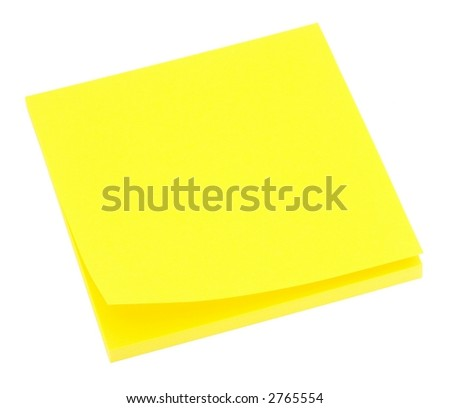 Blank neon yellow memo pad isolated on white.