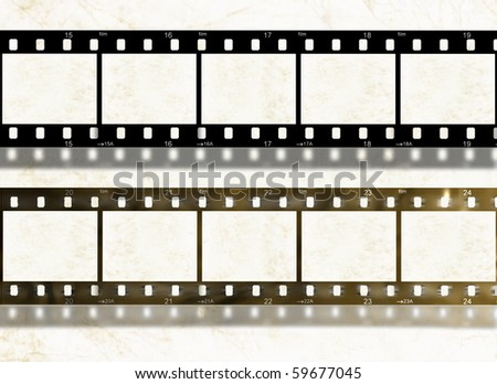 Blank new and old shabby film stripes on white background, abstract illustration