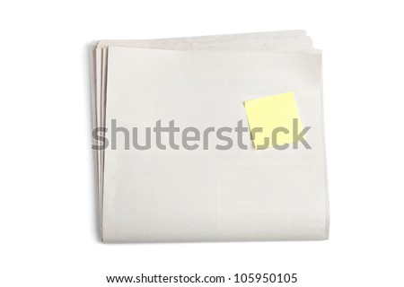 Blank Newspaper and Sticky Note with white background