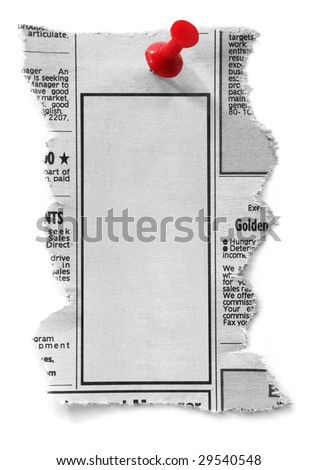 Blank newspaper classified ad, ready for your message.  Fastened with red push pin.