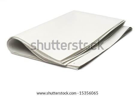 blank newspaper on white with clipping path