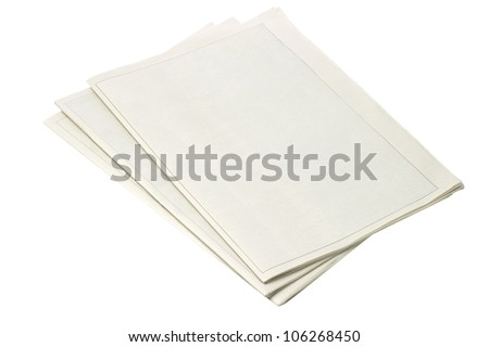 Blank Newspapers on White Background