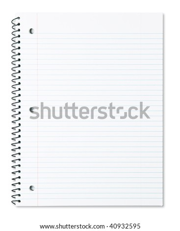 Blank note book with three ring binder holes isolated on white.