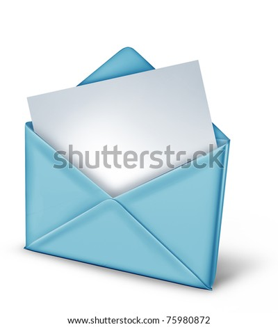 Blank note in a blue envelope isolated on white