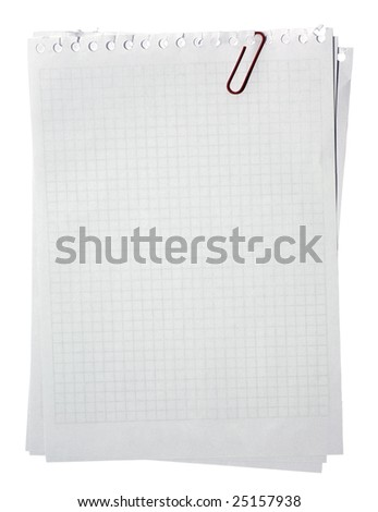 Blank note pages stacked with red clip isolated on white background. Clipping path.