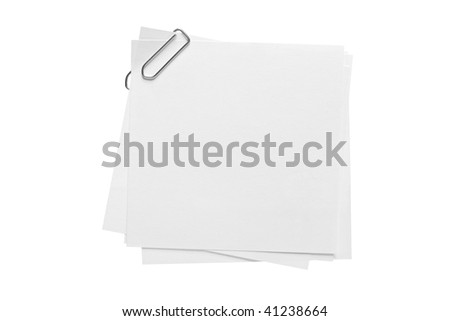 Blank note paper and paper-clip isolated on white background