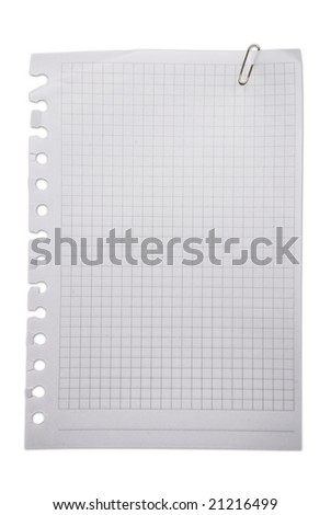 Blank note paper and paperclip. Saved with detailed clipping path.