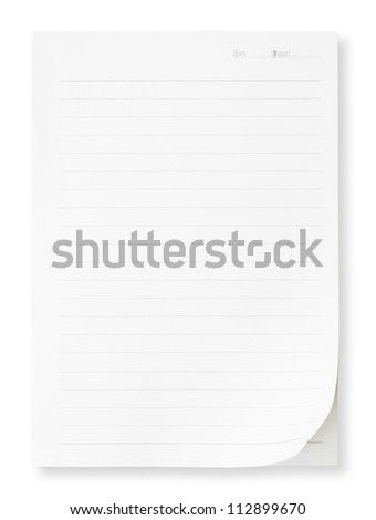 blank note paper isolated on white