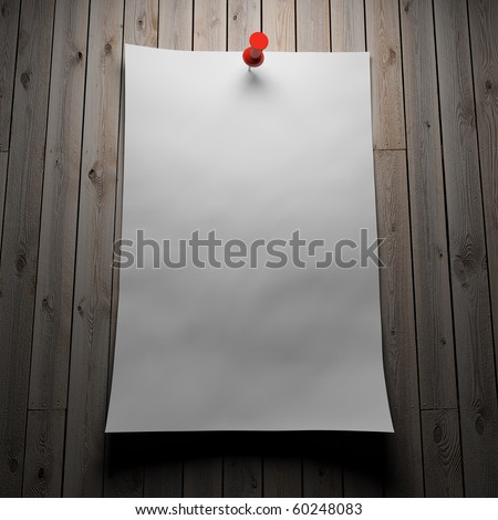 Blank note paper on wood board