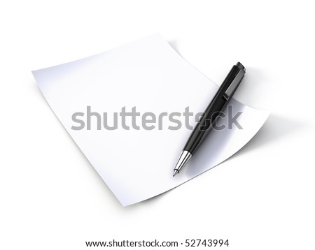 Blank note paper with pen