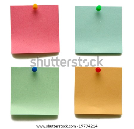 Blank note papers isolated on white.