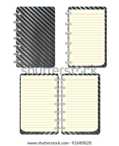 blank notebook and Black Carbon fiber texture Front cover.  isolated on white background
