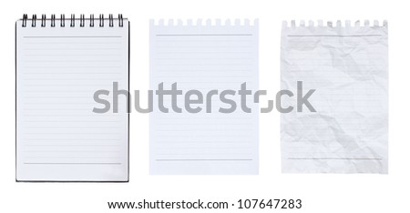 Blank notebook and page ripped off isolated on white background