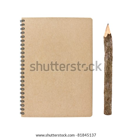 blank notebook and wooden pencil isolated on white background, conservation concept