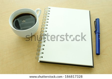 Blank notebook coffee and pen #186817328