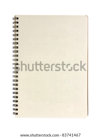 blank notebook isolated on white background - stock photo