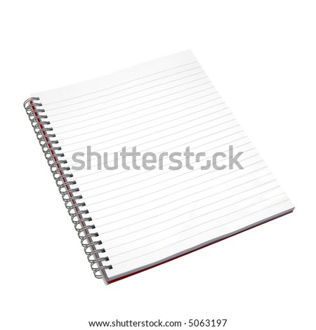Blank notebook. Isolated on white. With detailed clipping path including the spirals.