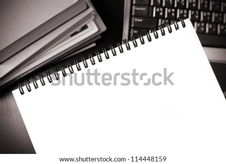 blank notebook on the dektop