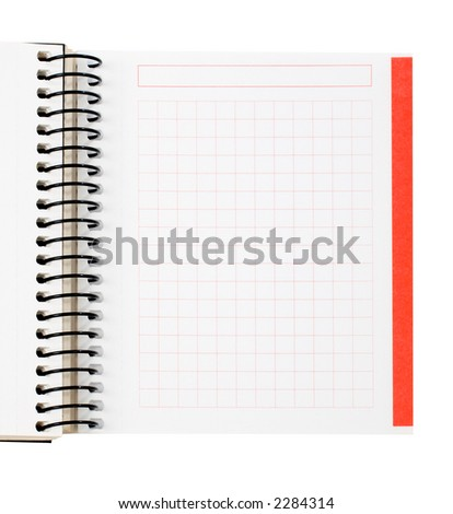 Blank notebook sheet over a white background